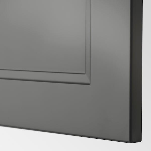 METOD High cabinet for fridge/freezer, black/Axstad dark grey, 60x60x220 cm