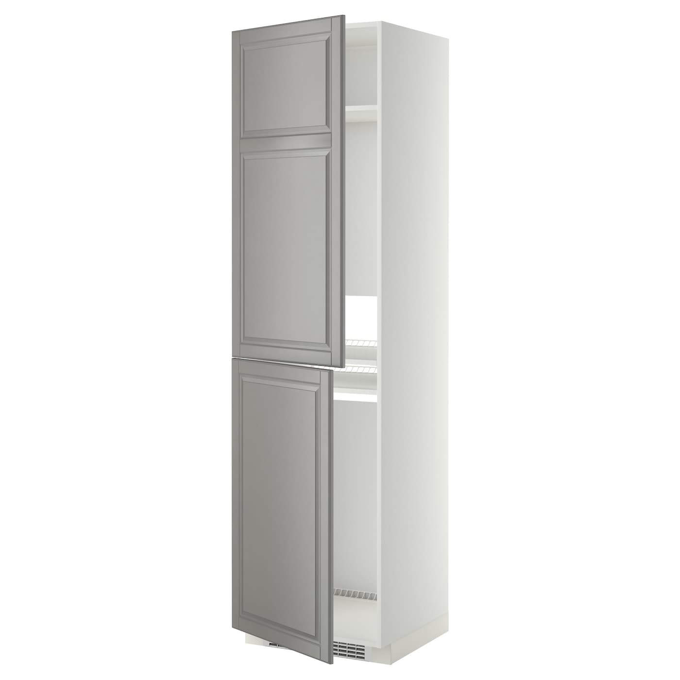 Metod high cabinet for fridge freezer white bodbyn grey 60 for Ikea fridge cabinet