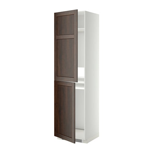 Metod high cabinet for fridge freezer white edserum brown for Ikea fridge cabinet