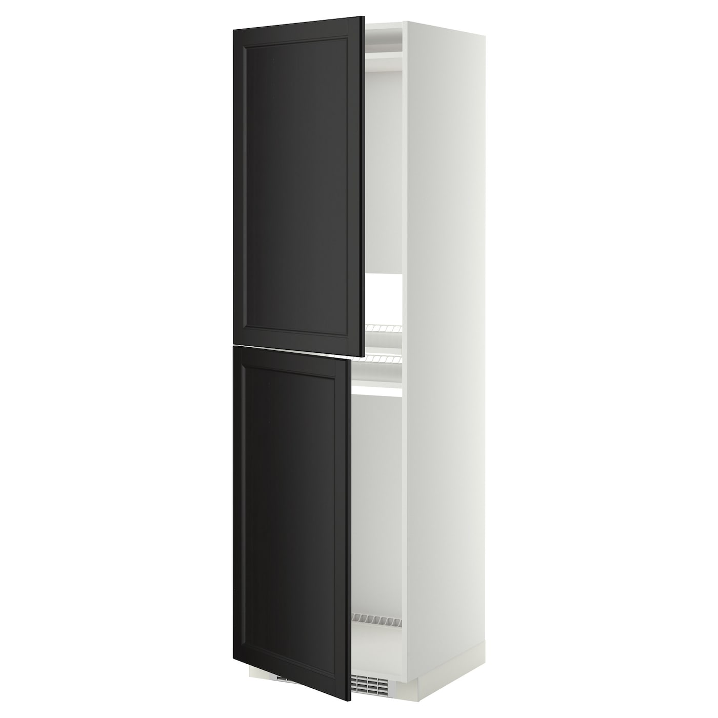 Metod high cabinet for fridge freezer white laxarby black for Ikea fridge cabinet