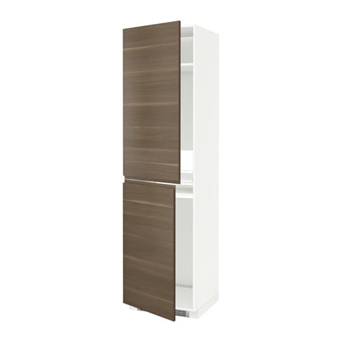 METOD High cabinet for fridge freezer White voxtorp walnut
