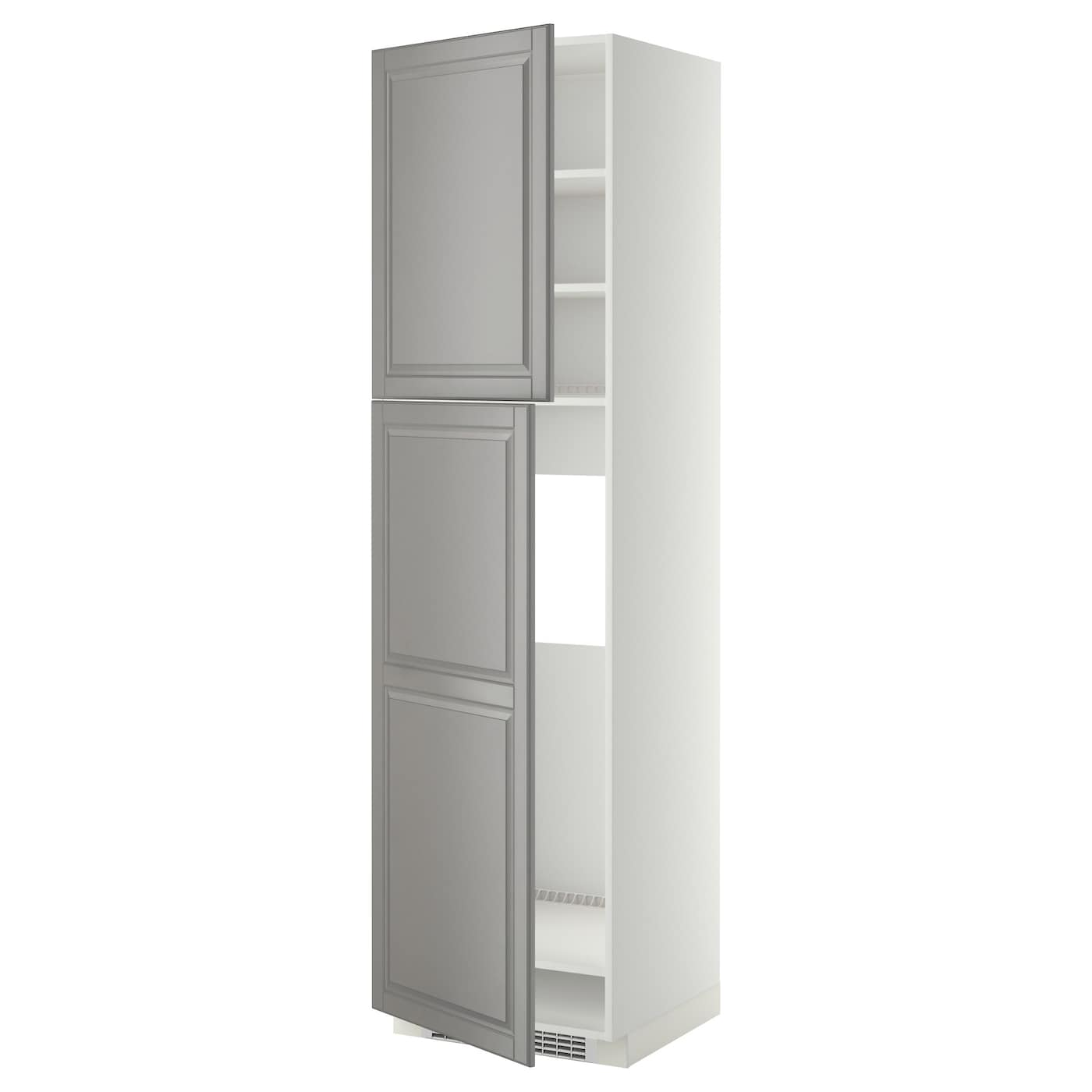 Metod high cabinet for fridge w 2 doors white bodbyn grey 60x60x220 cm ikea - Ikea kitchenette frigo ...