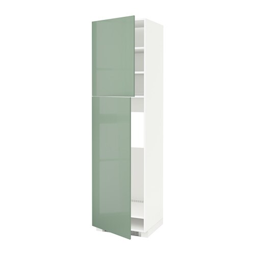 Metod high cabinet for fridge w 2 doors white kallarp for Ikea fridge cabinet