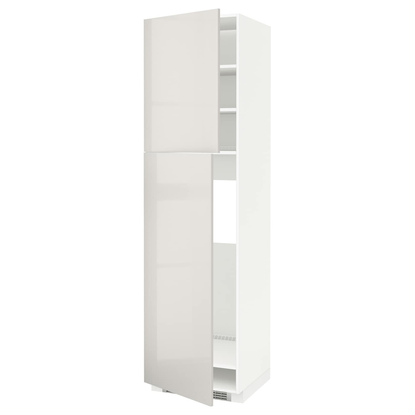 metod high cabinet for fridge w 2 doors white ringhult light grey 60 x 60 x 220 cm ikea. Black Bedroom Furniture Sets. Home Design Ideas