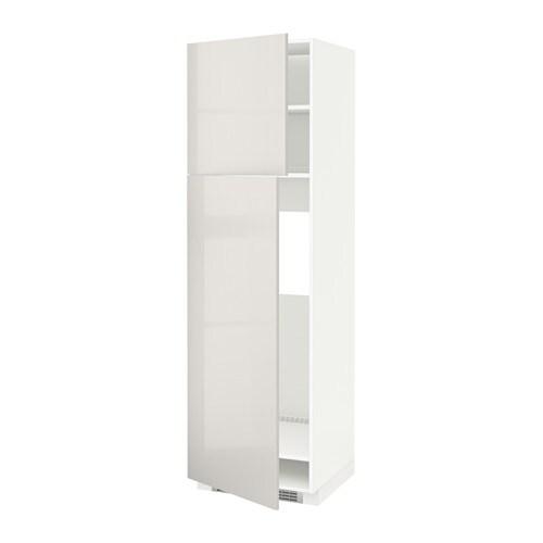 Metod high cabinet for fridge w 2 doors white ringhult for Kitchen ideas w2 5sh