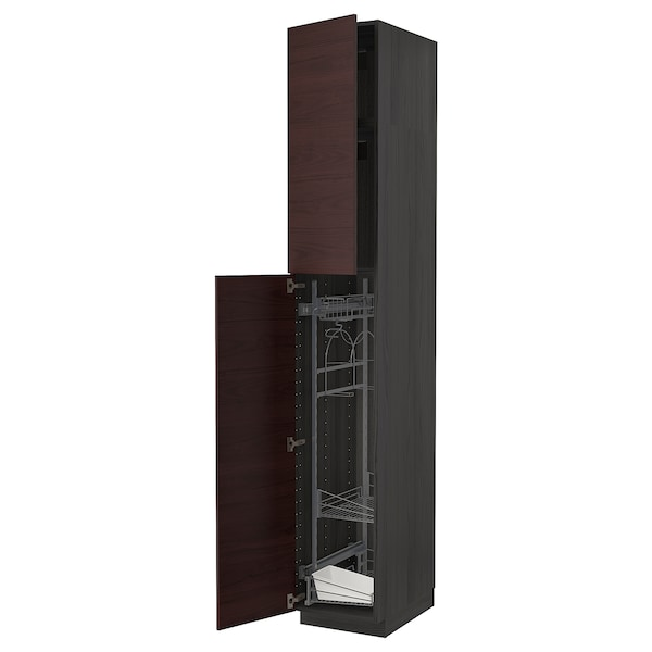 METOD High cabinet with cleaning interior, black Askersund/dark brown ash effect, 40x60x240 cm