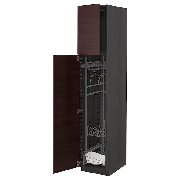 METOD High cabinet with cleaning interior, black Askersund/dark brown ash effect, 40x60x200 cm