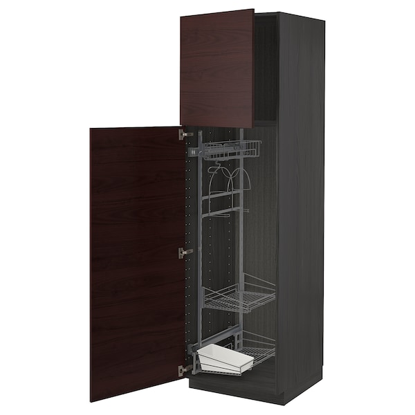 METOD High cabinet with cleaning interior, black Askersund/dark brown ash effect, 60x60x200 cm