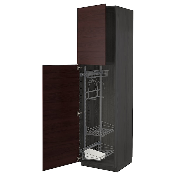 METOD High cabinet with cleaning interior, black Askersund/dark brown ash effect, 60x60x220 cm