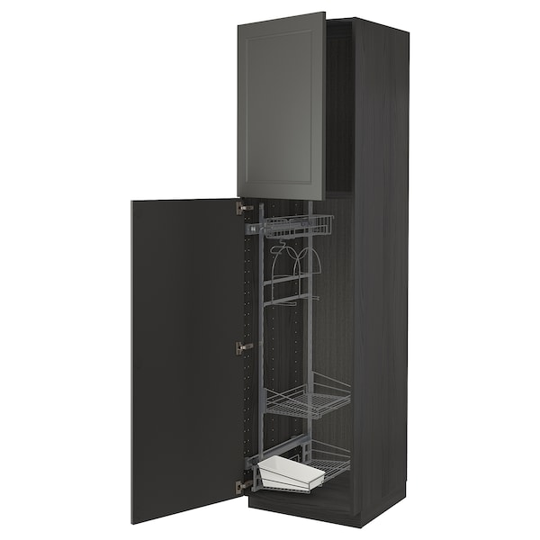 METOD High cabinet with cleaning interior, black/Axstad dark grey, 60x60x220 cm