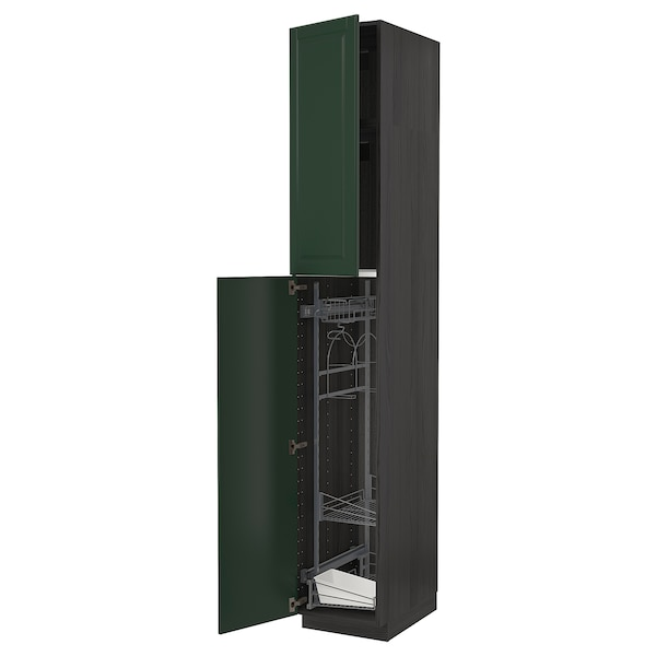 METOD High cabinet with cleaning interior, black/Bodbyn dark green, 40x60x240 cm