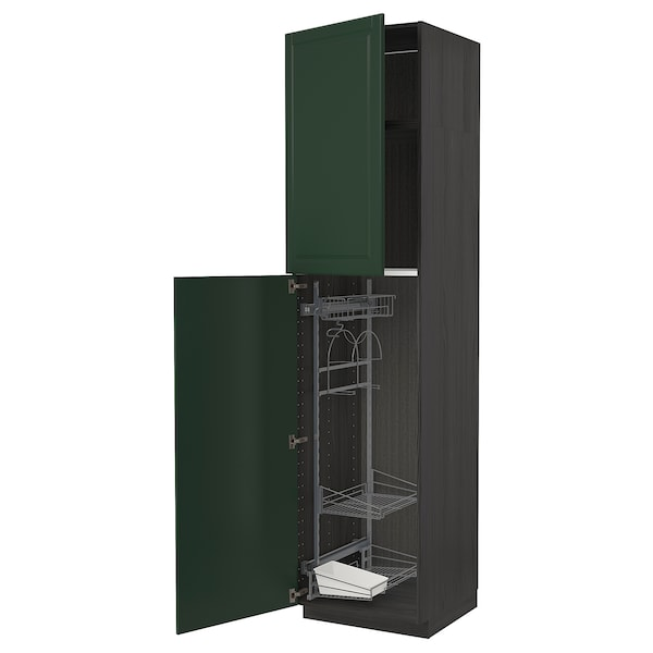 METOD High cabinet with cleaning interior, black/Bodbyn dark green, 60x60x240 cm
