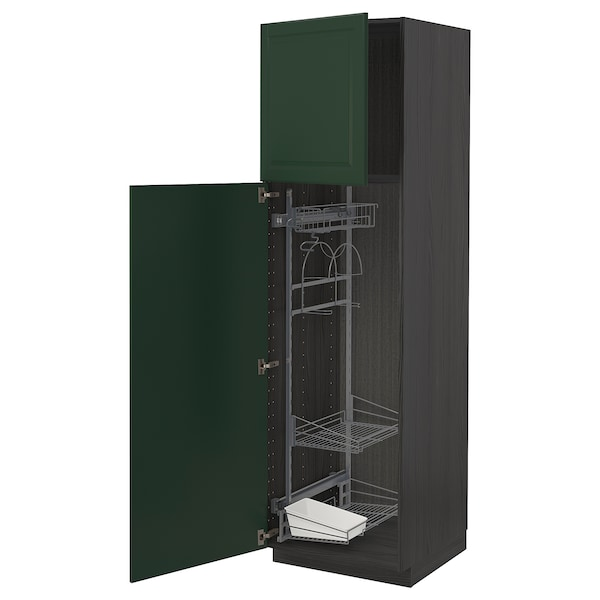 METOD High cabinet with cleaning interior, black/Bodbyn dark green, 60x60x200 cm