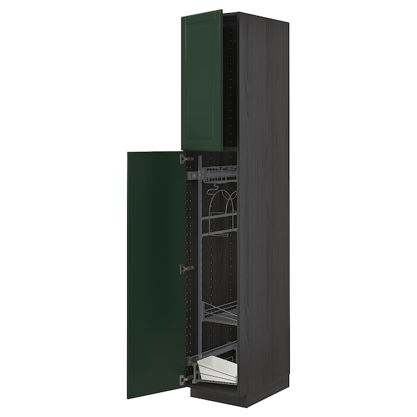 METOD High cabinet with cleaning interior, black/Bodbyn dark green, 40x60x220 cm