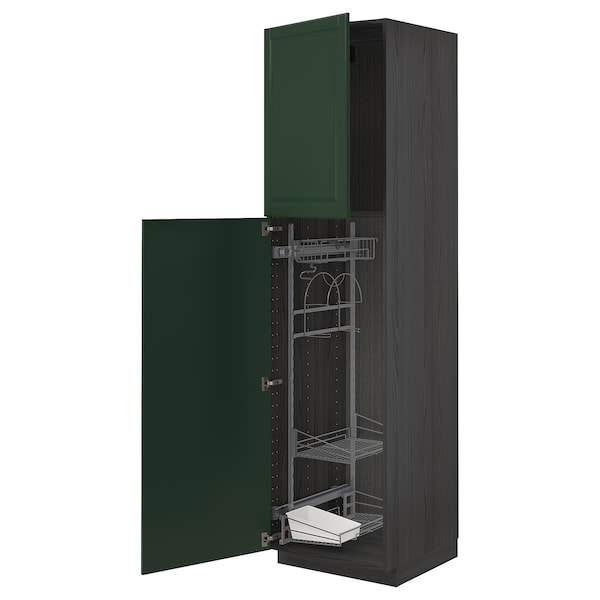 METOD High cabinet with cleaning interior, black/Bodbyn dark green, 60x60x220 cm