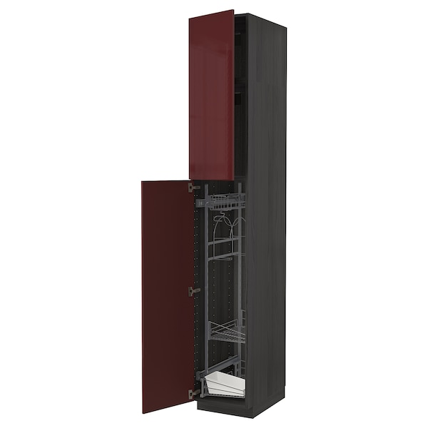 METOD High cabinet with cleaning interior, black Kallarp/high-gloss dark red-brown, 40x60x240 cm