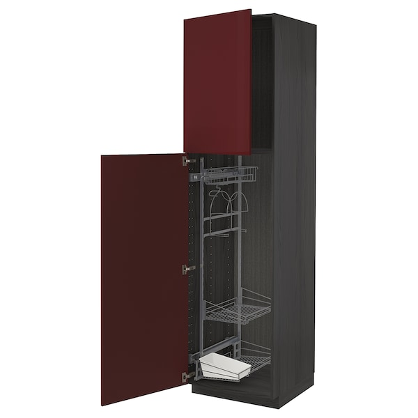 METOD High cabinet with cleaning interior, black Kallarp/high-gloss dark red-brown, 60x60x220 cm