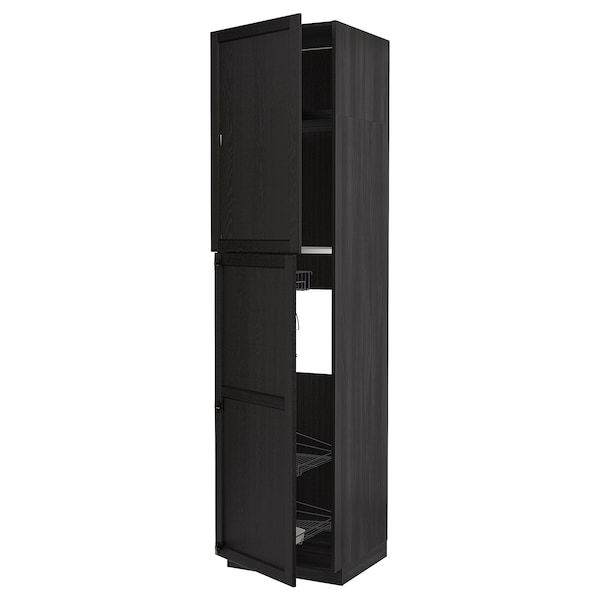 METOD High cabinet with cleaning interior, black/Lerhyttan black stained, 60x60x240 cm