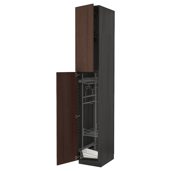 METOD High cabinet with cleaning interior, black/Sinarp brown, 40x60x240 cm