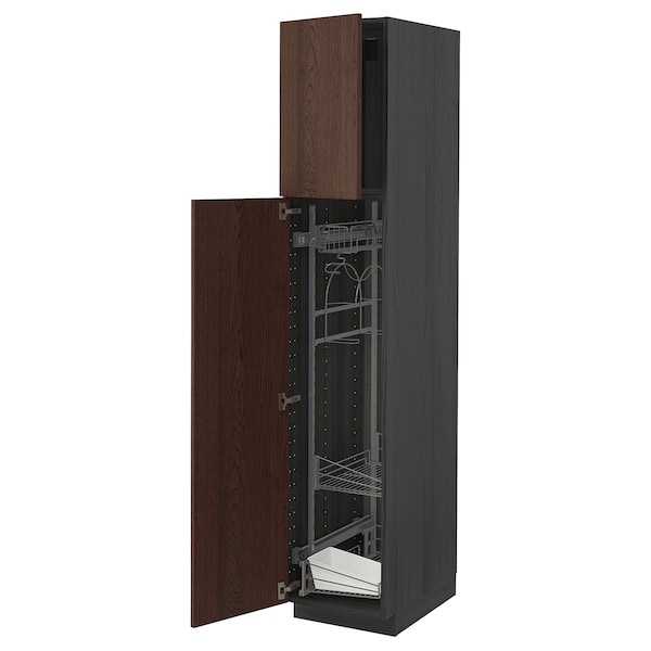METOD High cabinet with cleaning interior, black/Sinarp brown, 40x60x200 cm