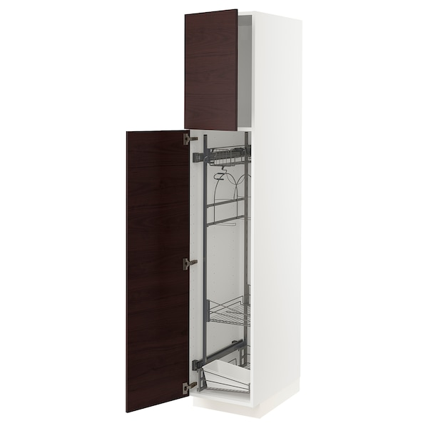 METOD High cabinet with cleaning interior, white Askersund/dark brown ash effect, 40x60x200 cm