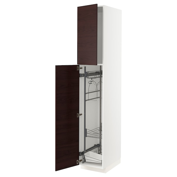 METOD High cabinet with cleaning interior, white Askersund/dark brown ash effect, 40x60x220 cm