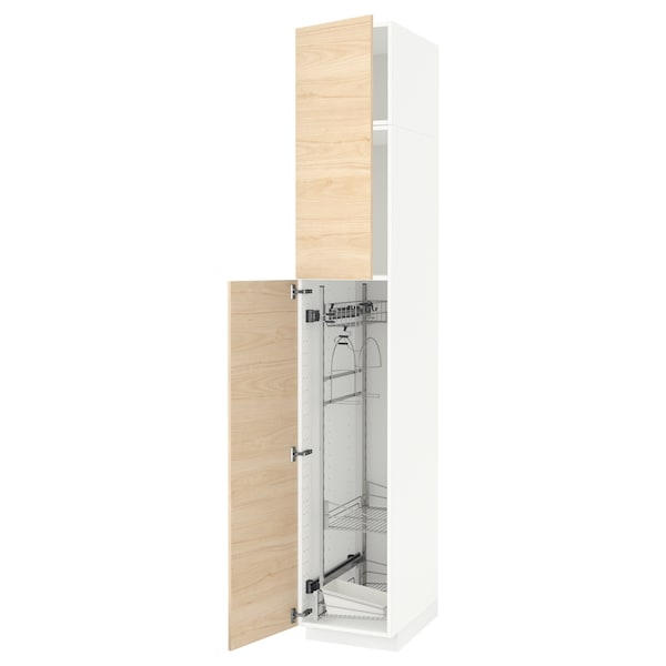 METOD High cabinet with cleaning interior, white/Askersund light ash effect, 40x60x240 cm