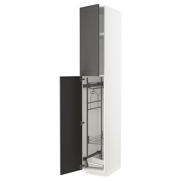 METOD High cabinet with cleaning interior, white/Axstad dark grey, 40x60x240 cm