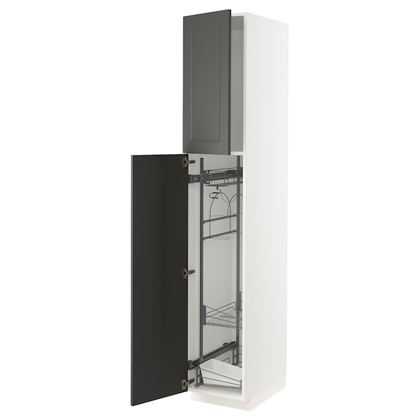 METOD High cabinet with cleaning interior, white/Axstad dark grey, 40x60x220 cm
