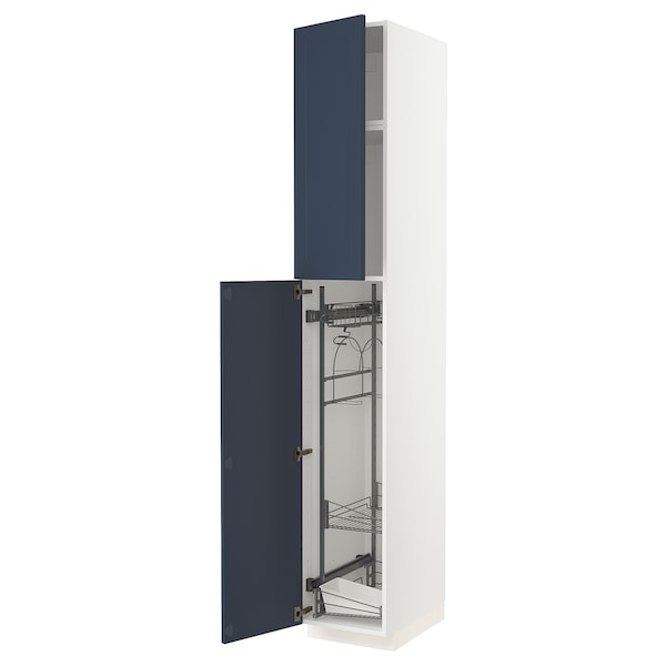 METOD High cabinet with cleaning interior, white Axstad/matt blue, 40x60x240 cm