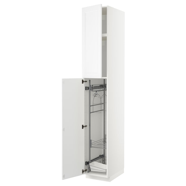 METOD High cabinet with cleaning interior, white/Axstad matt white, 40x60x240 cm