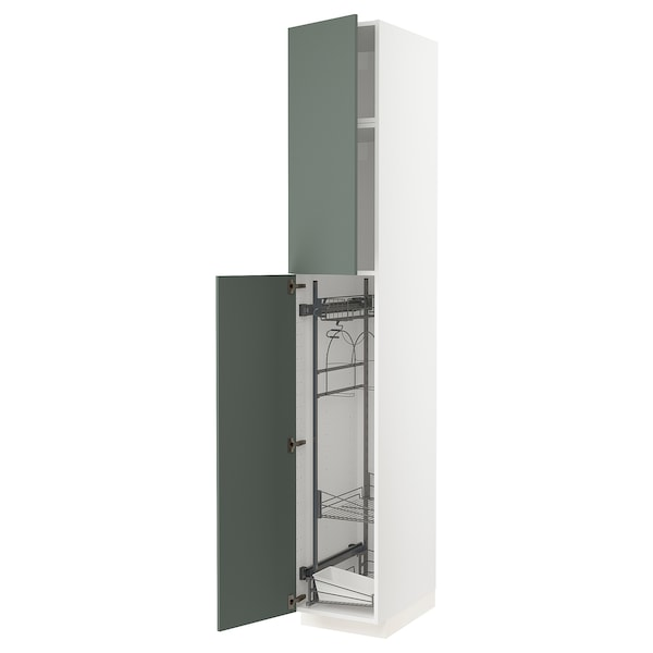 METOD High cabinet with cleaning interior, white/Bodarp grey-green, 40x60x240 cm