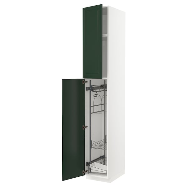 METOD High cabinet with cleaning interior, white/Bodbyn dark green, 40x60x240 cm