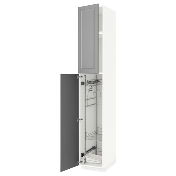METOD High cabinet with cleaning interior, white/Bodbyn grey, 40x60x240 cm