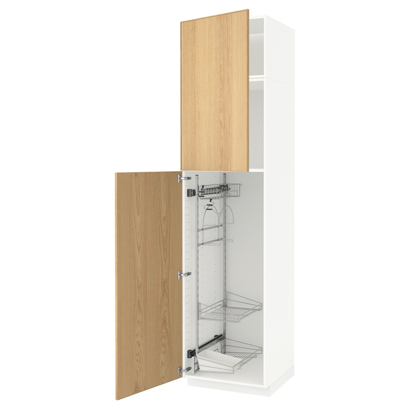 IKEA METOD high cabinet with cleaning interior Sturdy frame construction, 18 mm thick.