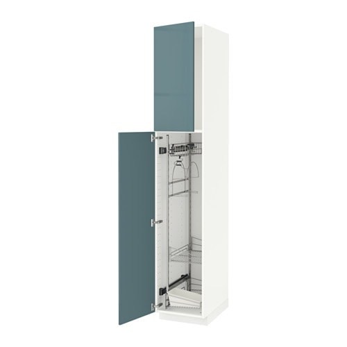 Metod high cabinet with cleaning interior white kallarp - Cuisine ikea gris turquoise ...