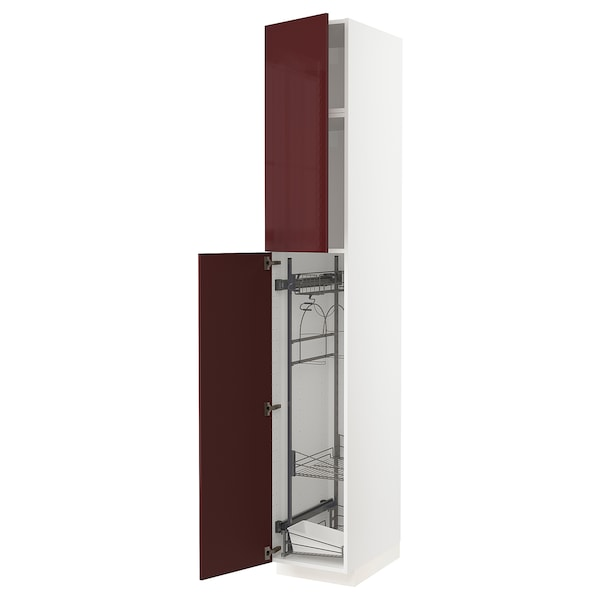 METOD High cabinet with cleaning interior, white Kallarp/high-gloss dark red-brown, 40x60x240 cm