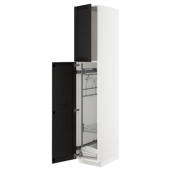 METOD High cabinet with cleaning interior, white/Lerhyttan black stained, 40x60x220 cm