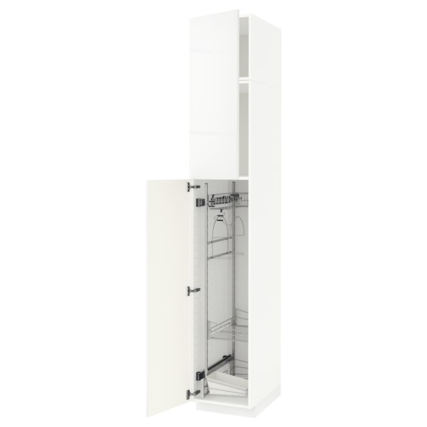 METOD High cabinet with cleaning interior, white/Ringhult white, 40x60x240 cm