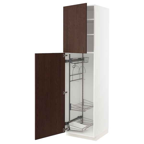 METOD High cabinet with cleaning interior, white/Sinarp brown, 60x60x220 cm