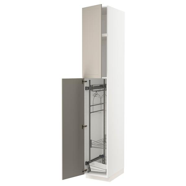 METOD High cabinet with cleaning interior, white/Stensund beige, 40x60x240 cm