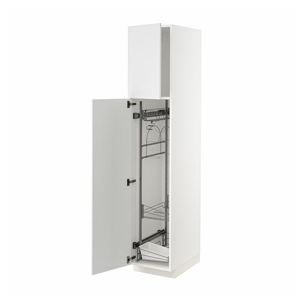 METOD High cabinet with cleaning interior, white/Stensund white, 40x60x200 cm