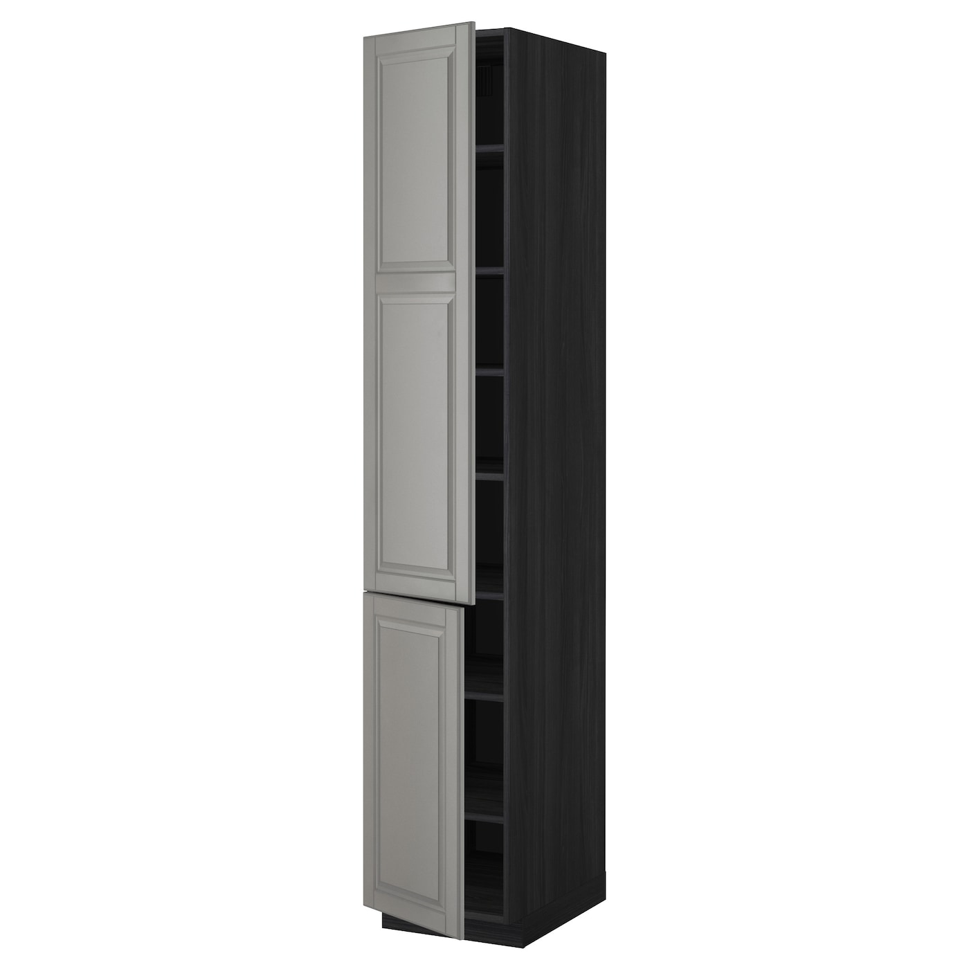 metod high cabinet with shelves 2 doors black bodbyn grey. Black Bedroom Furniture Sets. Home Design Ideas