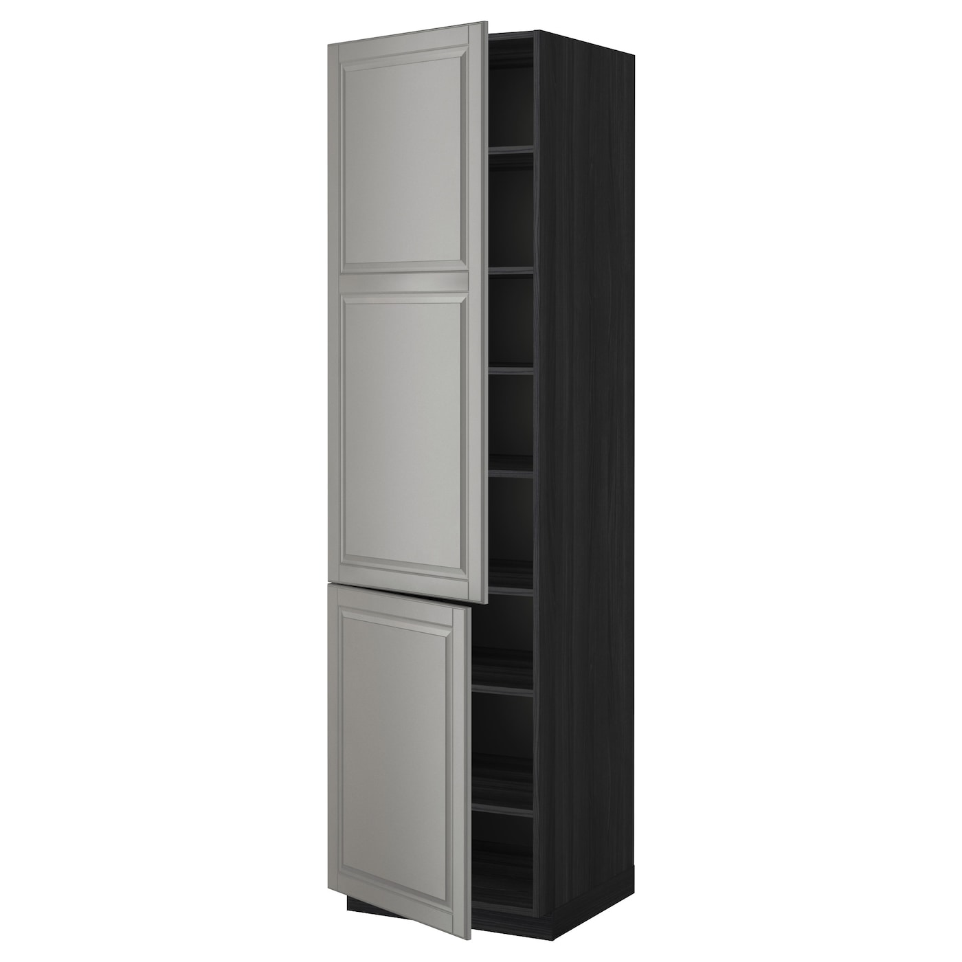 Ikea Kitchen Black Cabinets: METOD High Cabinet With Shelves/2 Doors Black/bodbyn Grey 60x60x220 Cm