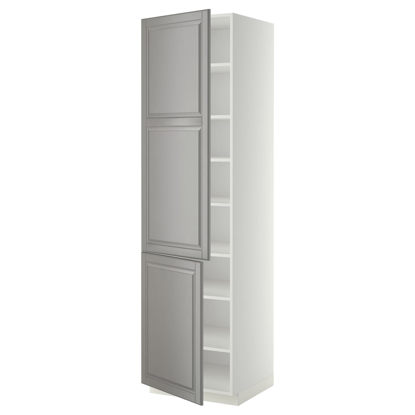 Metod high cabinet with shelves 2 doors white bodbyn grey - Ikea cabinet doors on existing cabinets ...