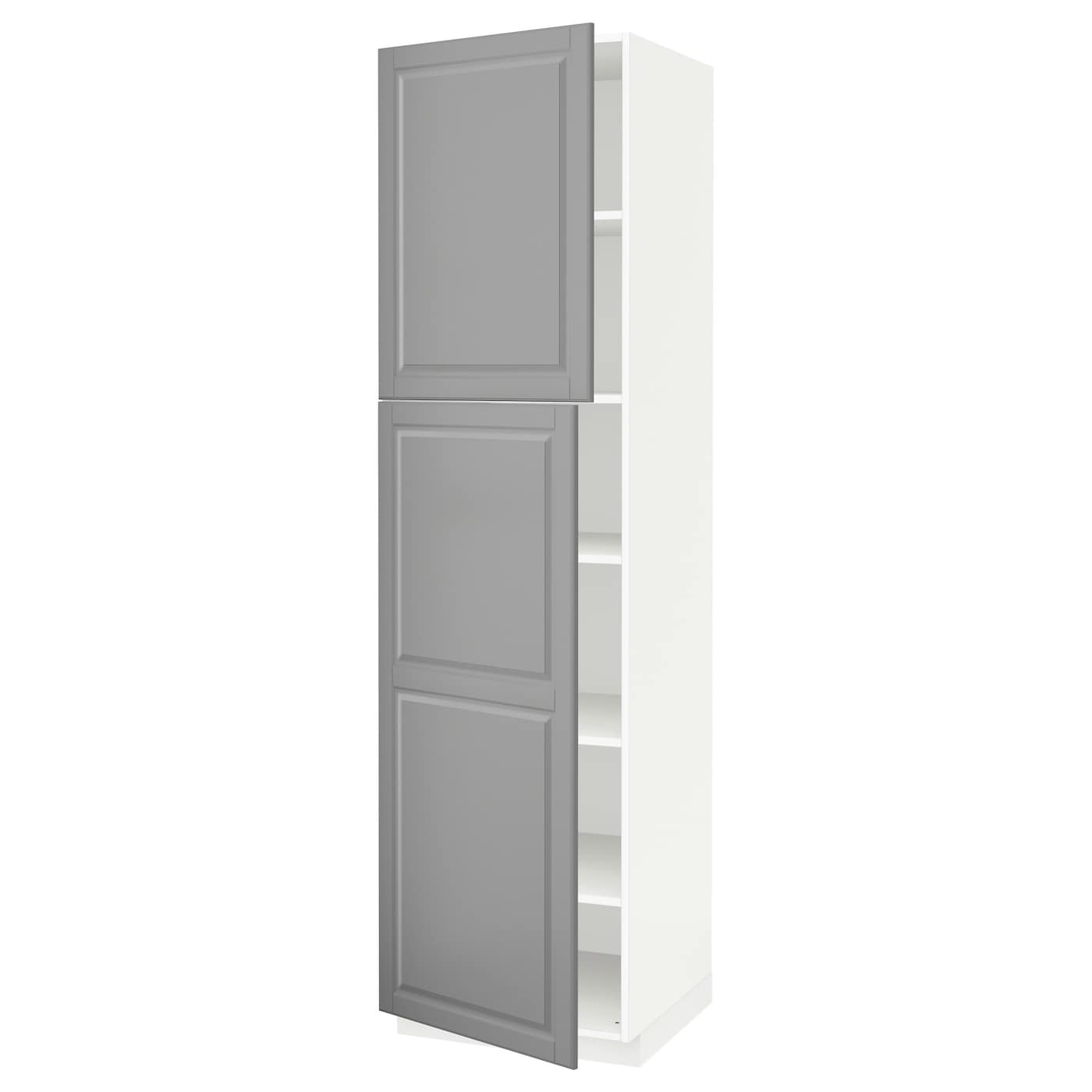 metod high cabinet with shelves 2 doors white bodbyn grey