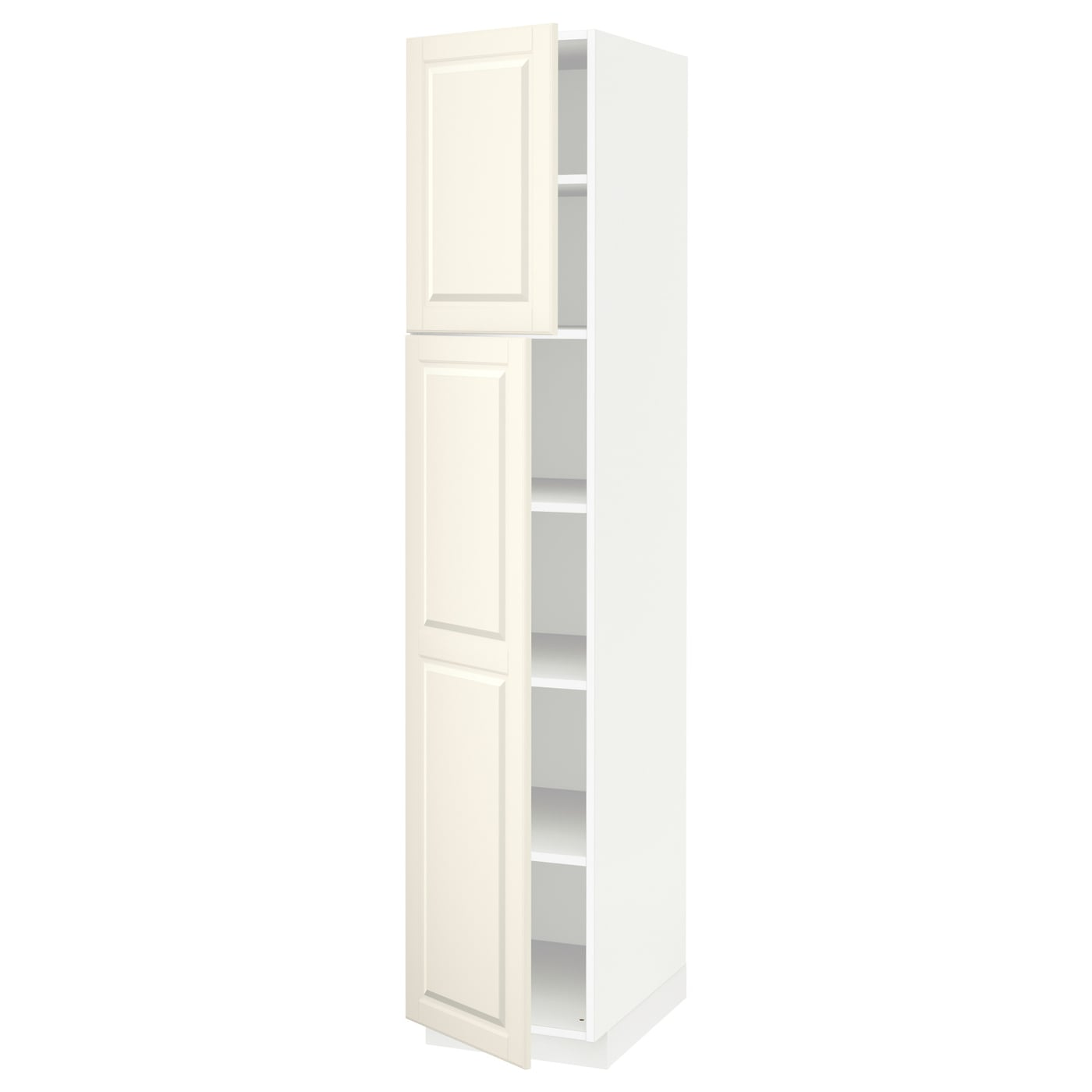 metod high cabinet with shelves 2 doors white bodbyn off. Black Bedroom Furniture Sets. Home Design Ideas