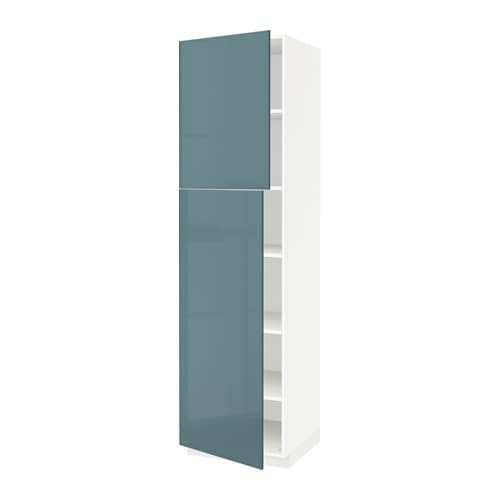 metod high cabinet with shelves 2 doors white kallarp grey