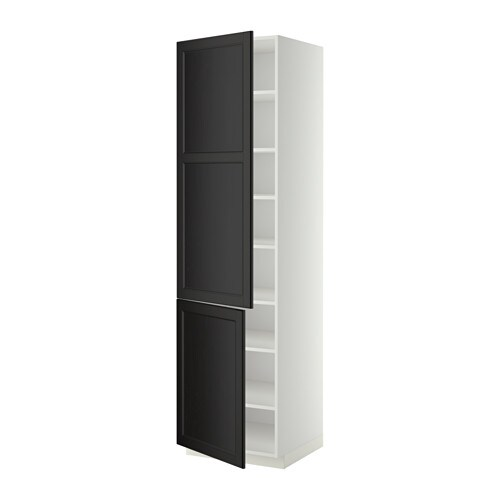 metod high cabinet with shelves 2 doors white laxarby. Black Bedroom Furniture Sets. Home Design Ideas