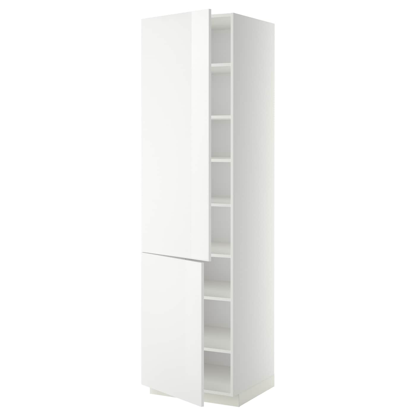 IKEA METOD high cabinet with shelves/2 doors Sturdy frame construction, 18 mm thick.
